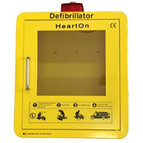 Door Alarmed Yellow AED Cabinet with Strobe Light | HeartOn