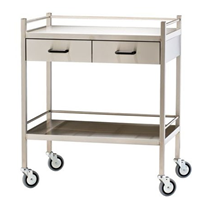 Stainless Steel Trolley with Rails & Two Horizontal Drawers | Dalcross