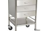 Stainless Steel Medical Trolley with 3 x Draws and Rail