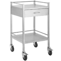 Stainless Steel Medical Trolley with 1 x Draw and Rail